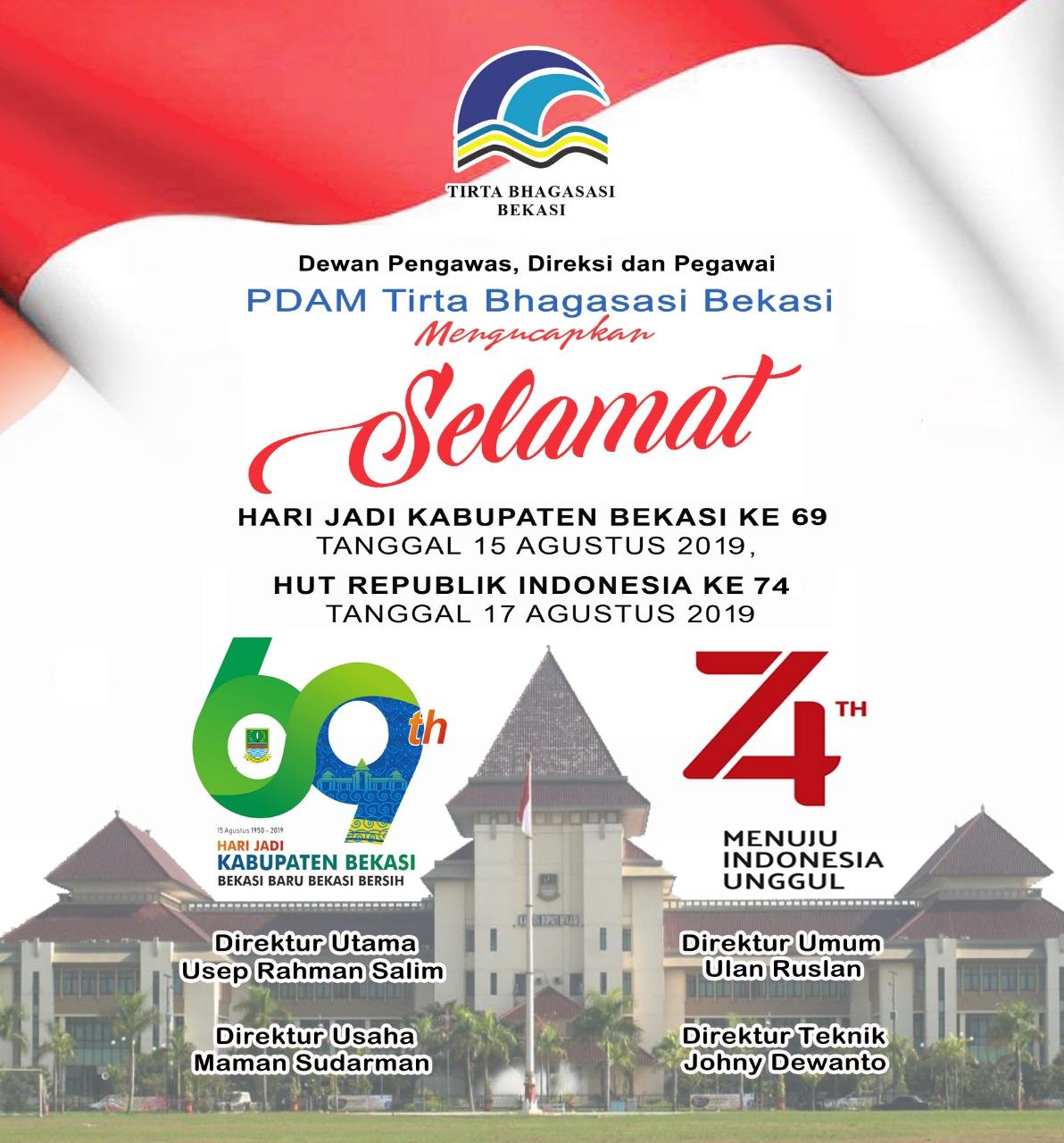 PDAM Tirta Bhagasi Bekasi Mengucapkan Selamat Hari Jadi Kabupaten Kota Bekasi dan Hut Republik Indonesia ke-74