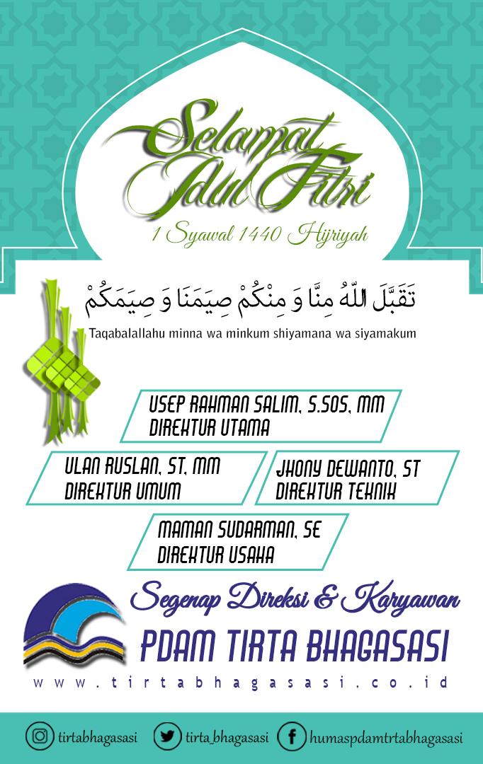 PDAM TIRTA BHAGASASI mengucapkan 'Selamat Idul Fitri 1440H'
